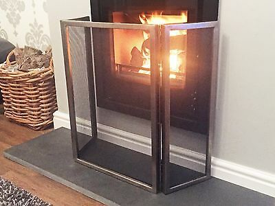 "Modern three fold Fire Guard Screen in Antique Pewter Finish H-64cm (25"")"