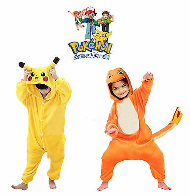 Kids Pyjamas Kigurumi Cosplay Pikachu Costume Onesies Boy Girl Hooded Sleepwear