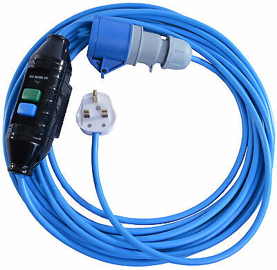 10m Extension Lead For Bouncy Castle Blowers 13 AMP to 16 AMP With In-Line RCD