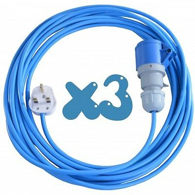 3x 15m Extension Leads For Bouncy Castle Blowers 13 AMP to 16 AMP 16A Cable