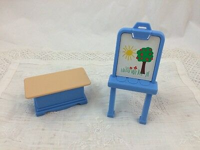 Fisher Price Dollhouse TOY Box Bench ART EASEL