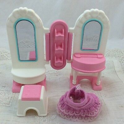 Fisher Price Dollhouse Size DRESS UP VANITY & STOOL Skirt