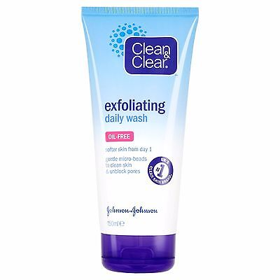 Clean & Clear Exfoliating Oil Free Daily Face Wash 150ml Blackhead Treatment New