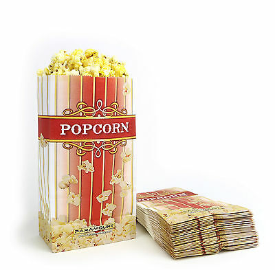 500 Popcorn Serving Bags, 'Small' Standalone Flat Bottom Paper Bag Style