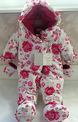 Gap Baby Girls Pink Small Floral Warmest Bow Puffer Jacket