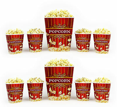 Popcorn Bucket Set - 2 Large & 8 Small Plastic Serving Bowl Tubs