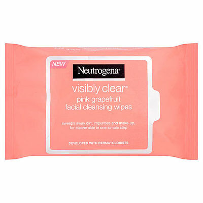 Neutrogena Visibly Clear Pink Grapefruit Facial Cleansing Wipes - 25 wipes NEW