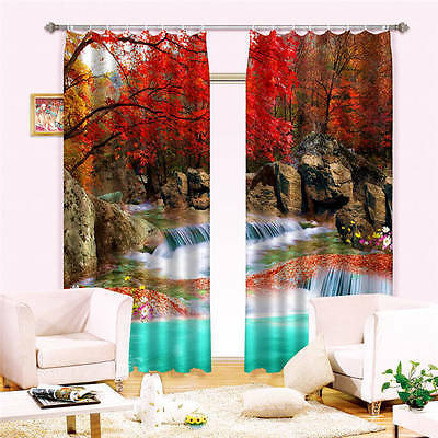 Red Leaves Waterfall 3D Curtain Blockout Photo Curtains Print Home Window Decor