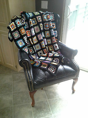 "Vintage Granny Square Multi-Color Black Crocheted Afghan Handmade 64 x 52"" Throw"