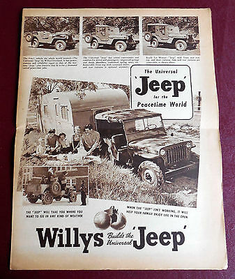 1945 To 1946 Jeep Cj - 2A Large Newspaper Type Brochure 8 Pages Lots Of Inf0