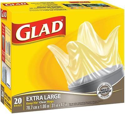 """Glad 30202 CLEAR GARBAGE BAGS EASY TO TIE HEAVY DUTY 20/PACK 31"""" X 42"""""""