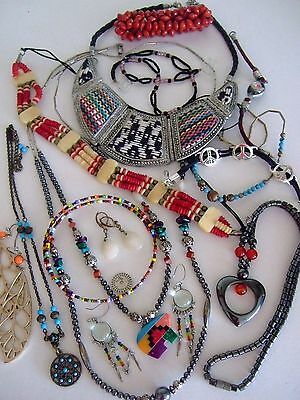Assorted Ethnic Jewelry Lot Of ~14~, Sterling, Fetish, Turquoise, Plus!