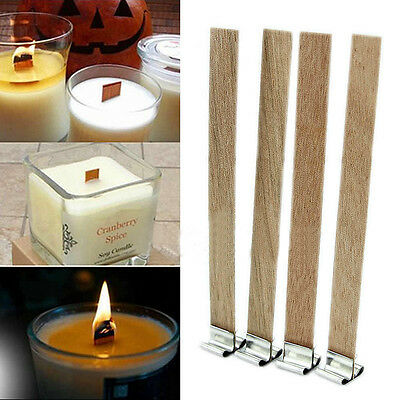 10 x 3 Sizes Candle Wood Wick with Sustainer Tab Candle Making Supply Hot