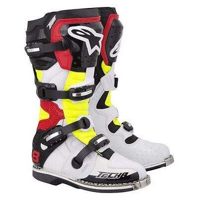 Alpinestars Tech 8 Boots White/Red/Yellow Size 10