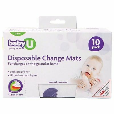 ~  BABY U DISPOSABLE CHANGE MATS 10 PACK MAT 45.5cm X 68cm