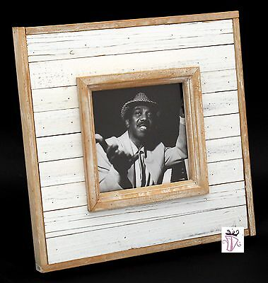 New White Wash Square 5 x 5in (10x10cm) Photo Picture Frame Rustic Shabby Chic