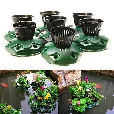 7pcs Aquaponics Floating Pond Planter Pots  Kit - Hydroponic Island Gardens