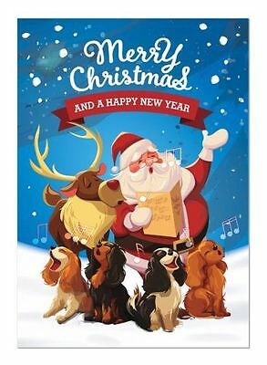 Cavalier King Charles Spaniel Christmas six Cards 'Sing song merrily on high'