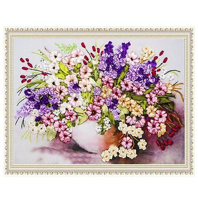 Ribbon Embroidery Kit Blooming Flowers and Vase Needlework Craft Without Frame