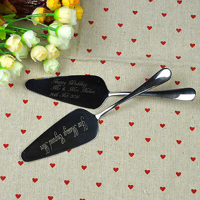 Personalized Engraved Cake Knife Set Server Serving Party Wedding Silver New