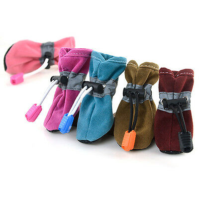 Pet Dog Cat Puppy Winter Warm Anti-slip Shoes Leather Cashmere Sneakers Booties