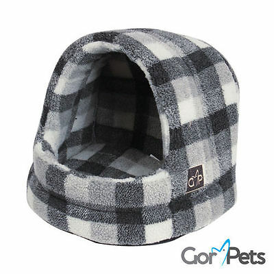 Winter Highland Check Hooded Pet Dog Cat Cosy Wahshable Igloo Cave Washable