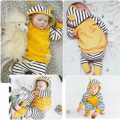 Cute Newborn 6 9 12 18 Months Baby Boys Girl Hoodie Stripe Pants Outfits Clothes