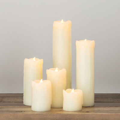 Set Of 6 Battery Operated Slim Flickering LED Pillar Candles With Dripping Wax