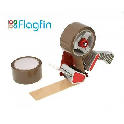 2 X Brown Tape 66m x 48mm with Heavy Duty Tape Dispenser