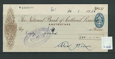 wbc. - CHEQUE - CH1003 - USED -1950- NATIONAL BANK of SCOTLAND, ANSTRUTHER
