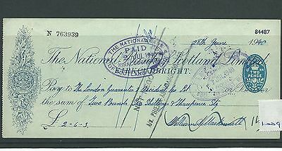 wbc. - CHEQUE - CH1009 - USED -1940- NATIONAL BANK of SCOTLAND, KIRKCUDBRIGHT