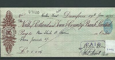 wbc. - CHEQUE - CH1011 - USED -1921- NORTH of SCOTLAND & TOWN & COUNTY, DUMFRIES