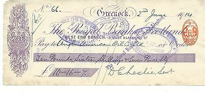 wbc. - CHEQUE - CH1025 - USED -1913 - ROYAL BANK of SCOTLAND, WEST END, GREENOCK