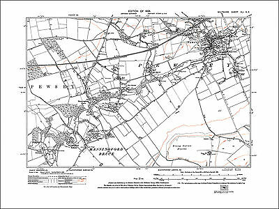 Pewsey, Manningford, old map Wiltshire 1926: 41NE repro