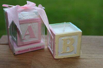 10 x ABC Toy Block Candle  - Christening Party / Baby Shower Baby Girl Gift