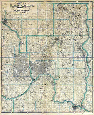 1887 Farm Line Map of Ramsey and Washington County Minnesota St Paul Stillwater