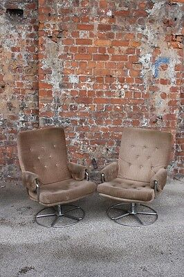 Pair Of Retro Vintage Upholstered Swivel Easy Chairs - Two Vintage Armchairs