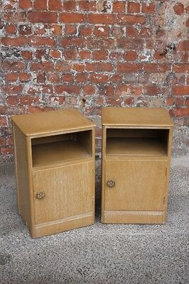 Two Matching Painted Bleached Effect Oak Bedside Cabinets - Bedside Tables