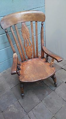 Large Antique Wooden Kitchen Fireside Arm Chair