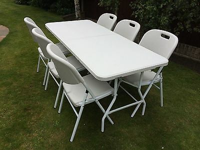 6 Ft Folding Heavy Duty White Trestle Party Garden Table Picnic Bbq