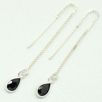 925 Sterling Silver - Pull Through Earrings with Black Tear Shaped CZ Stone