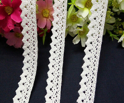 5/10Y Vintage White Cotton Crochet Lace Trim Wedding Bridal Ribbon Sewing Craft