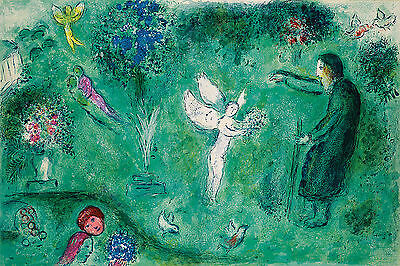 Marc Chagall   Daphinis and chloe  35x50 cm   STAMPA TELA CANVAS PRINT TOILE