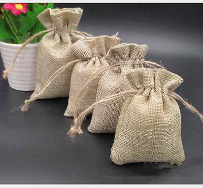 10x vintage Linen Drawstring Jewellery Gift Packaging Pouches Candy Bags Burlap