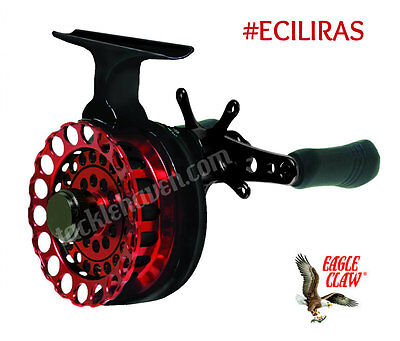 Eagle Claw Premium Inline RED Ice Fishing Reel Clam Pack ECILIRAS