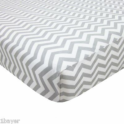 American Baby 100% Cotton Percale Fitted Portable Bed Mini Crib Sheet (Zigzag)