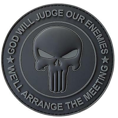 GOD WILL JUDGE OUR ENEMIES punisher PVC ACU subdued dark morale hook patch
