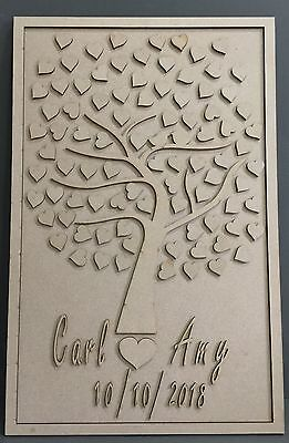 F316 DIY Love Heart Family Tree Wedding Signing Board Guest Book Alternative MDF