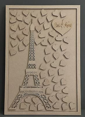F318 DIY EIFFEL TOWER LOVE Wedding Signing Board Guest Book Alternative MDF