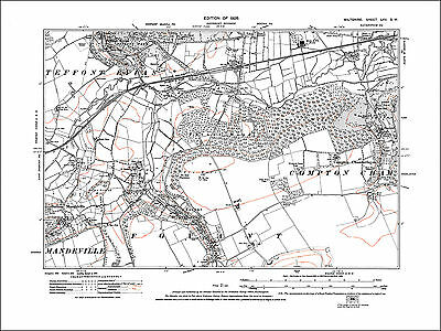 Compton Chamberlayne, Fovant, Sutton Mandeville, old map Wilts 1926: 65SW repro
